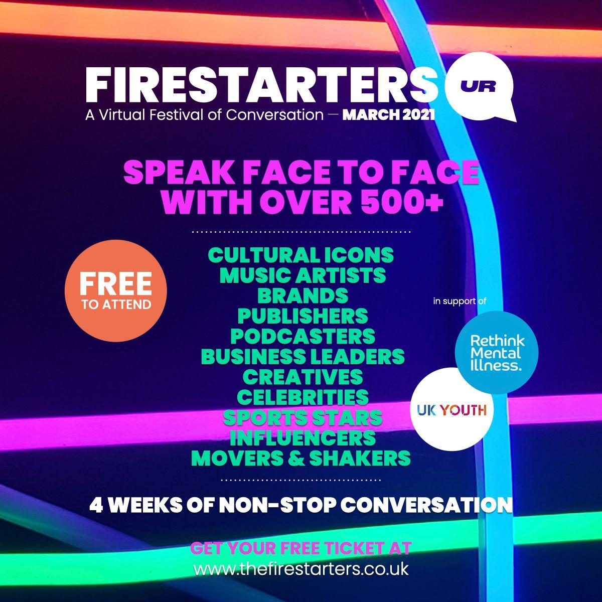 Firestarters: a virtual festival of conversation this March 17